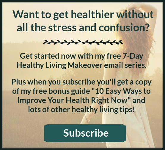 "Picture of woman looking off into the distance with link to subscribe for 7-day healthy living makeover email series and free bonus guide ""10 Easy Ways to Improve Your Health Right Now."""
